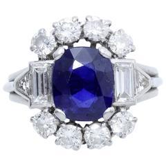 1940s French Sapphire Diamond Platinum Ring