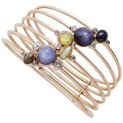 Constellation Cat's Eye Sapphire Diamond Gold Bangle Bracelet