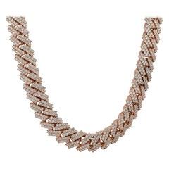49.8 Carat Diamond Pave Cuban Chain Necklace 10 Karat in Stock