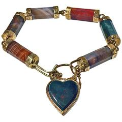 1870s Scottish Agate Gold Bracelet