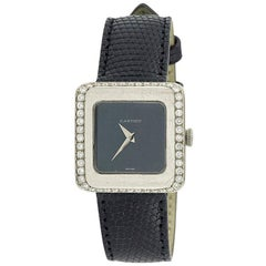 Vintage 1970s Manual Winding 48 Diamonds 18 Karat White Gold Lady Watch