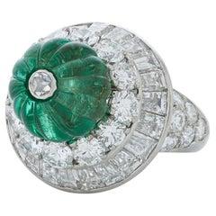 Vintage David Webb 5.10ct Carved Emerald Bead and Diamond Ring in Platinum&18kwg