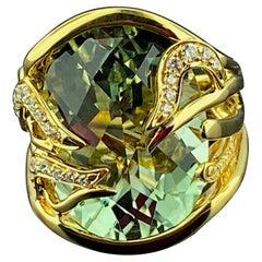 18KT Yellow Gold 15.25 Ct Aquamarine & Diamond Ring