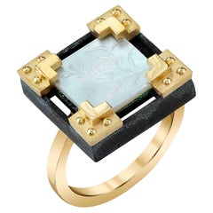 Antique Mother-of-Pearl Gaming Counter 18k Yellow Gold, Silver Ring with Bands