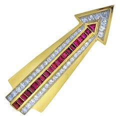 Gold, Ruby, and Diamond Arrow Brooch