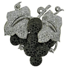 """""""Fruit of the Vine"""" Brooch with White and Black Diamonds in 18K White Gold"""