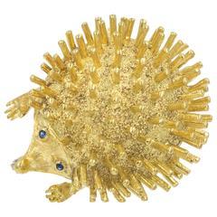 Very Cute  Gold Hedgehog Brooch