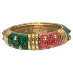 Hidalgo 18KY Pink Green Enamel Ring