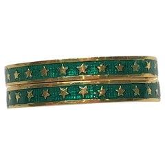 """Pair Hidalgo 18KY Green Enamel Rings with """"Stars"""""""