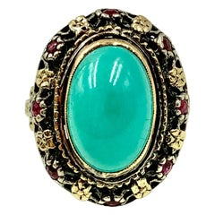 Antique Renaissance Style Turquoise, Ruby 18K Filigree Gold Ring, 19th Century