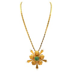 7 Carat Natural Emerald and Pearl 14K Yellow Gold Pendant Necklace