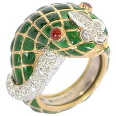 David Webb Enamel Diamond Gold Snake Ring