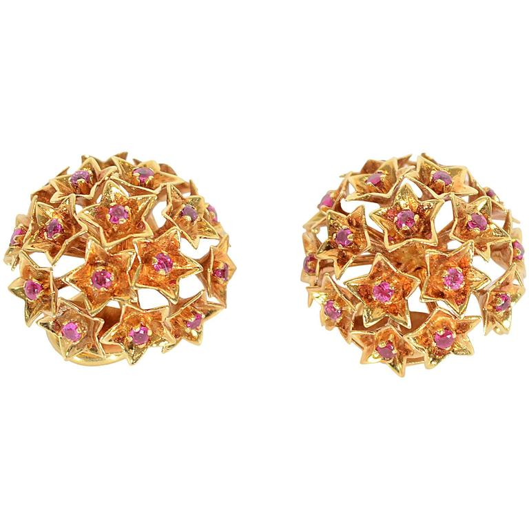 Tiffany & Co. Star Set Ruby Gold Earrings