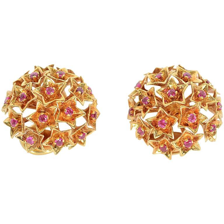 Tiffany & Co. Star Set Ruby Gold Earrings For Sale