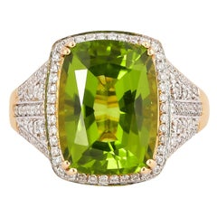 6.5 Carat Peridot with Diamond Ring in 18 Karat Yellow Gold