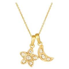 18 Karat Gold Set Polki Diamond Star & Moon Pendants on 18 Karat Gold Chain