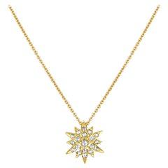 18 Karat Gold Pointed Star with 17 Graduated Rosecut Diamonds