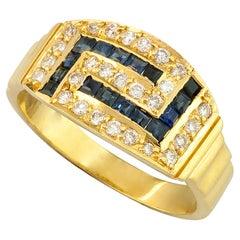 Georgios Collections 18 Karat Yellow Gold Diamond Sapphire Greek Key Band Ring
