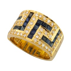 Georgios Collections 18 Karat Yellow Gold Black White Diamonds Sapphire Key Ring