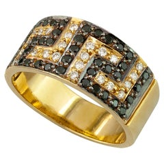 Georgios Collections 18 Karat Yellow Gold White Black and Diamond Greek Key Ring