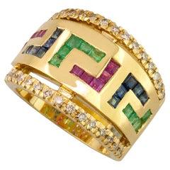 Georgios Collections 18 Karat Yellow Gold Diamond Sapphire Ruby Emerald Key Ring