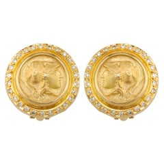 Georgios Collections 18 Karat Gold Clip Earrings with Athina Coin and Diamonds