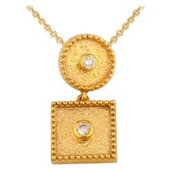 Georgios Collections 18 Karat Yellow Gold Small Drop Diamond Pendant and Chain