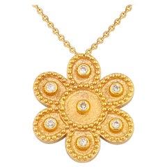 Georgios Collection 18 Karat Yellow Gold Diamond Flower Pendant with Granulation