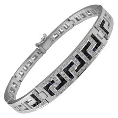 Georgios Collections 18 Karat White Gold Diamond Sapphire Greek Key Bracelet