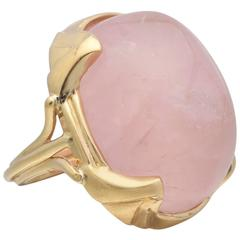 Large Rose Quartz Gold Ring