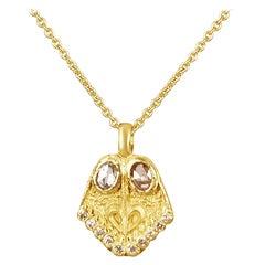 18 Karat Gold Lotus Feet, with Rose Cut Diamonds and Diamonds