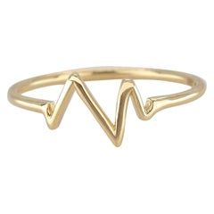 14K Gold Heart Beat Ring, Gold Stacking Ring, Gold Heart Pulse Ring