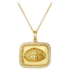 18 Karat Gold Amulet with 45 Brilliant Cut Diamonds Featuring the All-Seeing Eye