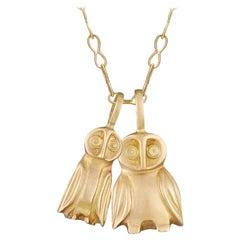 18 Karat Gold Hand-Carved Owls, Hanging on a Handmade 18 Karat Gold Chain