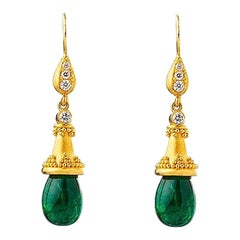 24K Gold Hand Crafted 15.40 Ct's Cabochon Drop Emerald Earrings