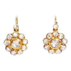 24K Gold Ottoman Style Rose form Rose Cut Diamond Earrings