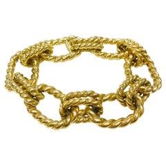 18 Karat Rope Oval Link Bracelet