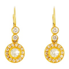 24K Gold Handcrafted Rose Cut Solitaire Earrings