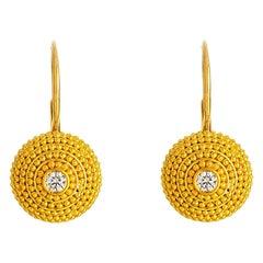 24K Gold Handcrafted Fully Granulated Half Ball Diamond Earrings
