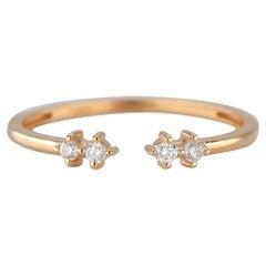 14K Gold Mind The Gap Open Double-Diamond Ring, 14K Gold Diamond Cuff Ring