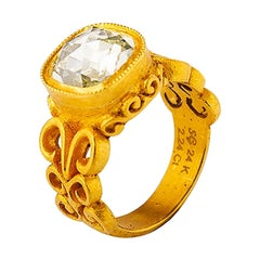 24K Gold Hand Crafted Byzantine Inspired Cushion Cut Diamond Solitaire Ring