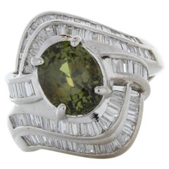 0.69 Carat Oval Emerald & Diamond Cocktail Ring in 18K White Gold