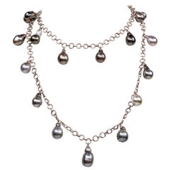 Sterling Silver Tahitian Drop Pearls Chain Necklace