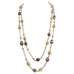Sterling Silver Gold Plate Beads Tahitian Pearls Multi-Strand Chain Necklace