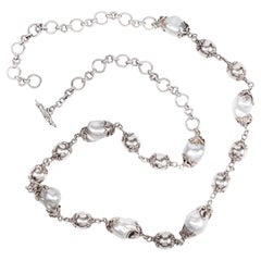 Sterling Silver Beads Long Baroque South Sea Pearls Chain Necklace