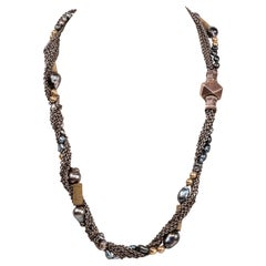 Silver Chain Gold Plate Beads Tahitian Baroque Pearls Keshi Beaded Necklace