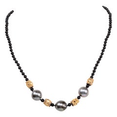 Gold Beads Onyx Tahitian Pearls Plated Clasp Beaded Necklace