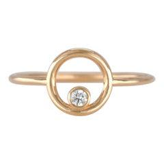 14K Gold Open Circle Ring with Diamond, 14K Gold 0.05 Carat Diamond Karma Ring