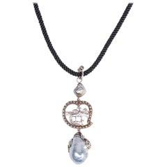 Sterling Silver Vintage Phoenix Baroque South Sea Pearl Necklace Enhancer