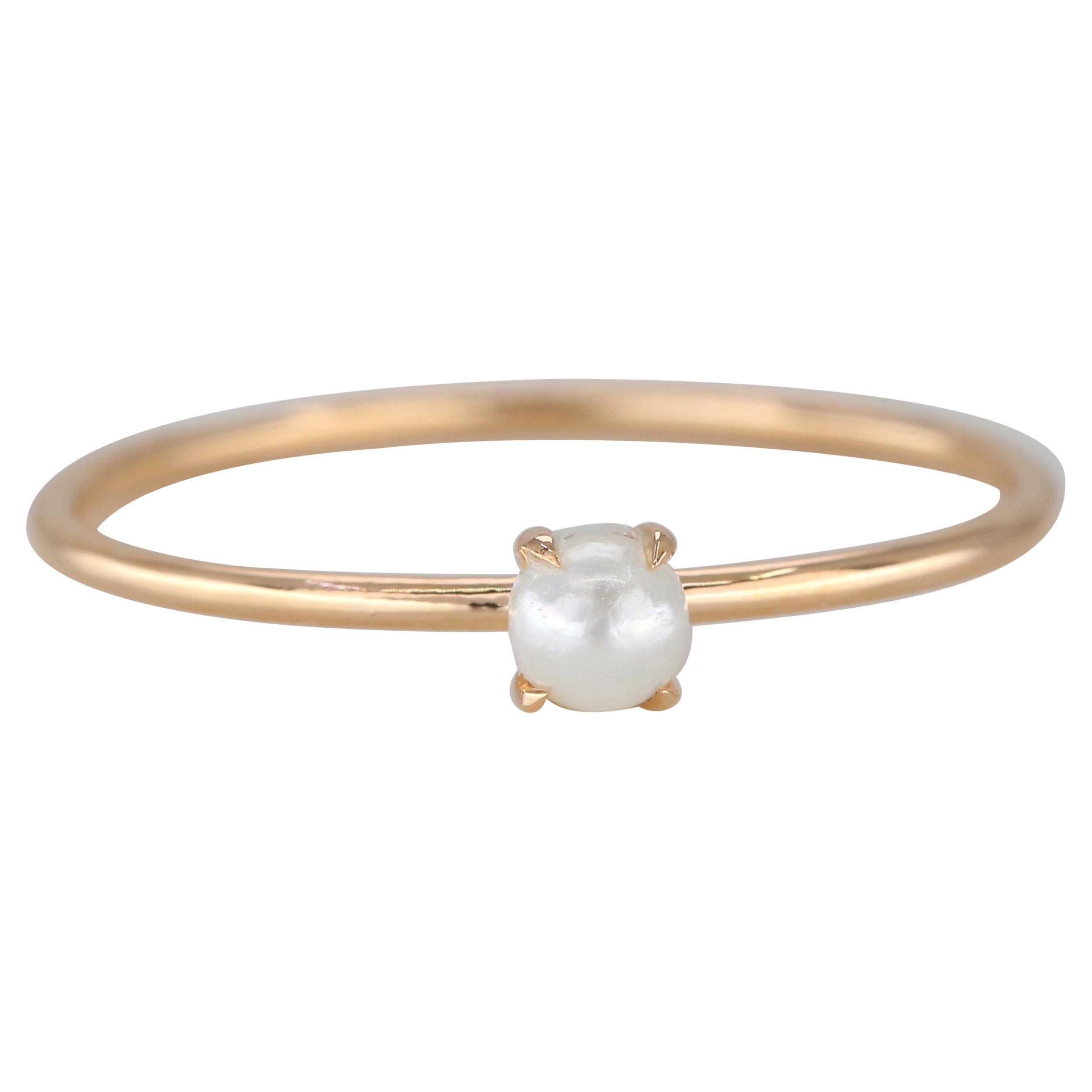 14K Gold Pearl Ring, 14K Gold Solitaire Pearl Ring